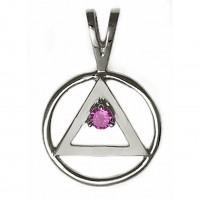 Sterling Silver AA Symbol with Birthstone