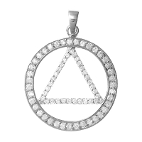 Sterling Silver AA Symbol, Large Circle Triangle with CZ Rim