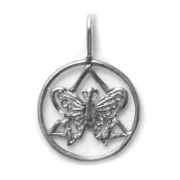 Sterling Silver AA Symbol with a Small Butterfly on the Inside