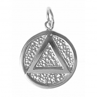 Sterling Silver AA Symbol with Solid Textured Circle Coin Style