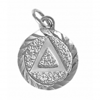 Sterling Silver, Triangle in Solid Textured Coin Style Circle