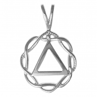 Sterling Silver AA Symbol in a Basket Weave Circle