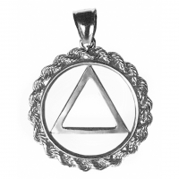 Sterling Silver AA Symbol in Rope Style Circle