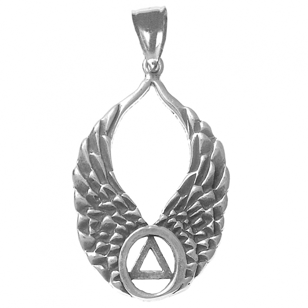 Sterling Silver AA Symbol on Angel Wings