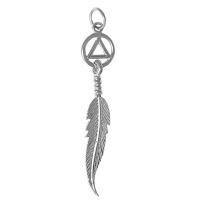 Sterling Silver, AA Circle Triangle with a Single Feather