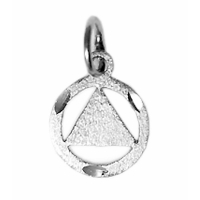 Sterling Silver Pendant, Diamond Cut Circle with Solid Triangle
