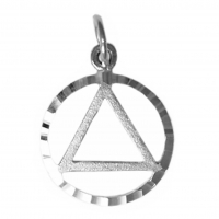 Sterling Silver Pendant, AA Circle Triangle