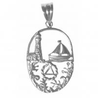 Sterling Silver AA Symbol in a Seascape Design, Med/Lrg