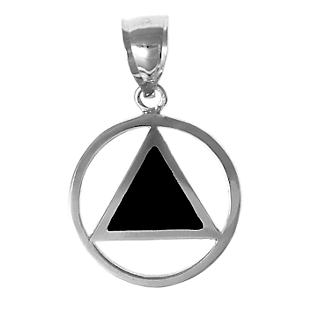 Sterling Silver, AA Symbol Pendant with Black Enamel Inlay