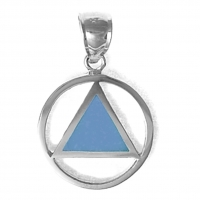 Sterling Silver, AA Symbol Pendant with Blue Enamel Inlay