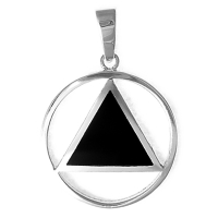 Sterling Silver AA Symbol Pendant with Black Enamel Inlay