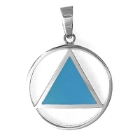 Sterling Silver AA Symbol Pendant with Blue Enamel Inlay