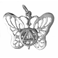 Sterling Silver Butterfly with AA Symbol