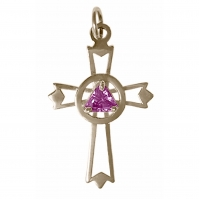 Sterling Silver, AA Symbol set inside Cross with Birthstone