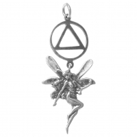 Sterling Silver AA Recovery Symbol with a Magical Fairy