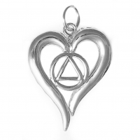 Sterling Silver AA Symbol in a Open Heart Pendant