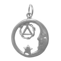 Sterling Silver, Moon and Star Pendant with AA Symbol