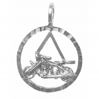 Sterling Silver AA Symbol in Diamond Cut Circle with Motorcycle