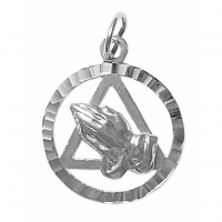 Sterling Silver AA Symbol with Praying Hands in a Diamond