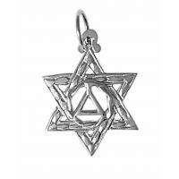 Sterling Silver AA Symbol in a Jewish Star of David
