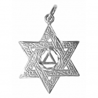 Sterling Silver Pendant, AA Symbol in a Jewish Star of David