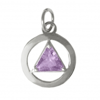 Sterling Silver, AA Symbol Medium with Birthstone