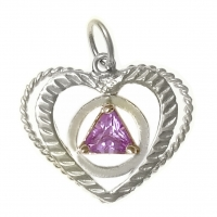 Sterling Silver, AA Symbol set in a Open Heart in Birthstones