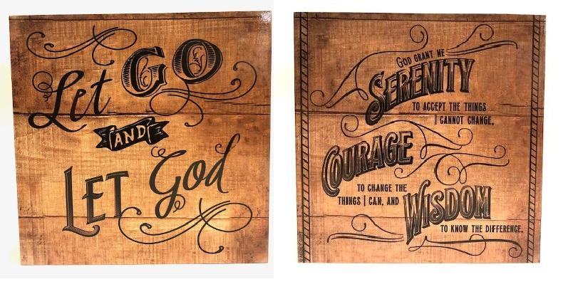 Let Go Let God -Serenity Prayer 2 Sided Tabletop Block