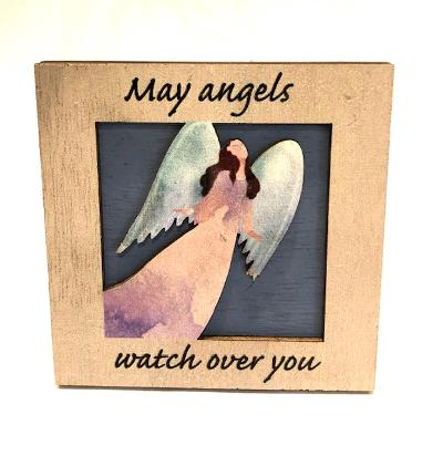 May Angels Watch easel back mini plaque