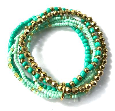 Multi Strand Glass Bead Bracelet (Turquoise & Gold)