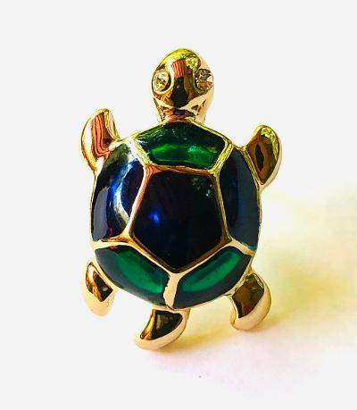 Gold and Enamel Turtle Lapel Pin